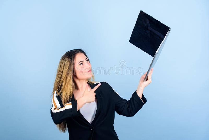 Girl with laptop computer. Software developer. Developer write code. Project manager. Job openings for junior developer royalty free stock photography