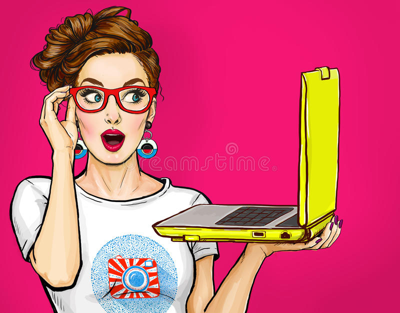 Girl with laptop in the hand in comic style. Woman with notebook.Girl in glasses. Hipster girl. Digital advertisement. Amazed woman. Comic woman vector illustration
