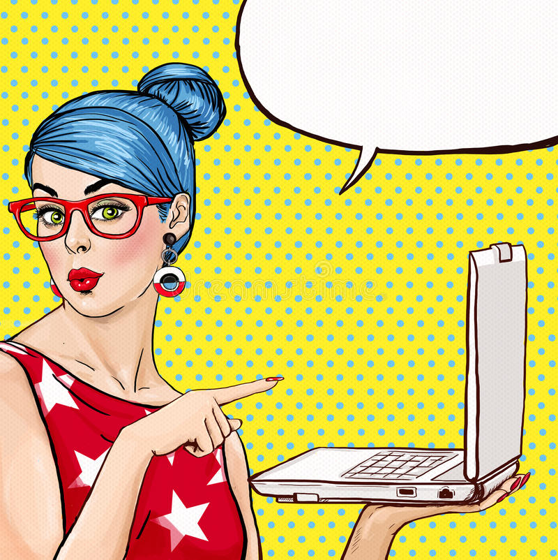 Girl with laptop in the hand in comic style. Woman with notebook . Girl showing the laptop. Girl in glasses. Hipster girl. royalty free illustration