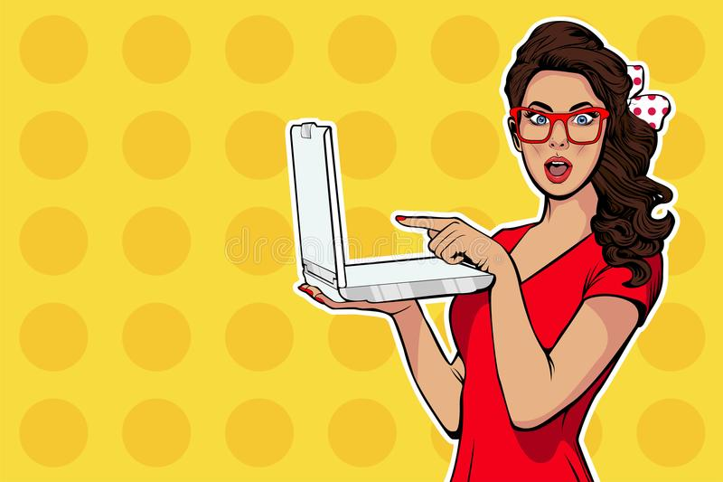 Girl with laptop in the handpointing with finger on it. Digital advertisement. Some news or sale concept. Wow, omg emotion. Cartoon comic illustration in pop vector illustration