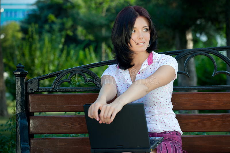 Download Girl with laptop in park stock image. Image of cheerful - 16104709