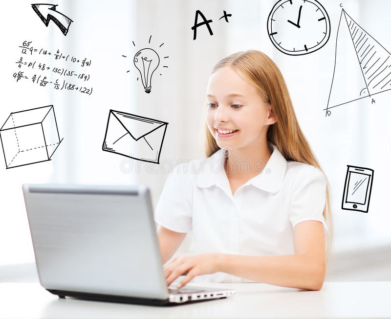 Download Girl With Laptop Pc At School Royalty Free Stock Photos - Image: 37771968