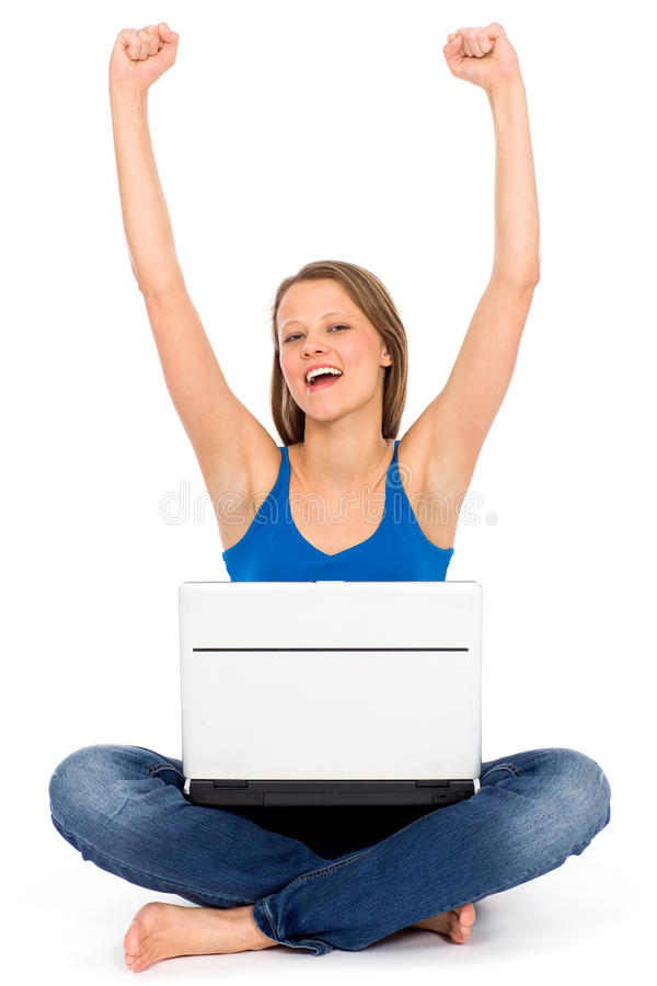 Download Girl With Laptop Raising Her Arms In Joy Royalty Free Stock Photos - Image: 19102938
