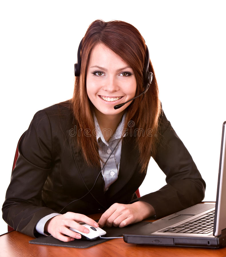 Girl with laptop from support service. royalty free stock image