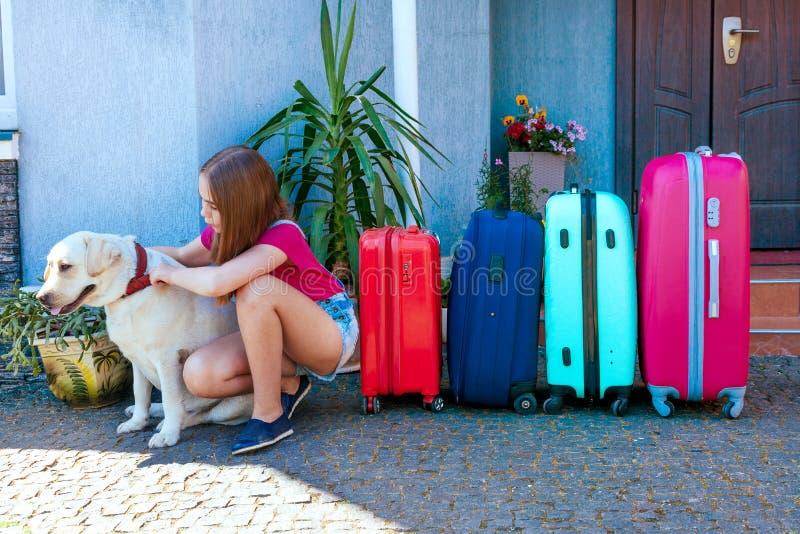 Labrador dog girl kid baggage blue pink orange house sun summer luggage family car ready holidays plant green four stock image