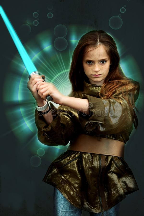 Girl with laser sword. Teenage girl fighting with laser sword. Background photo for your mobile cell phone or as wallpaper or screen saver