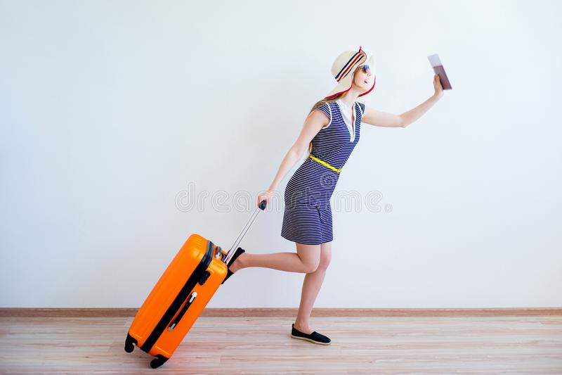 Girl late for a bus stock image