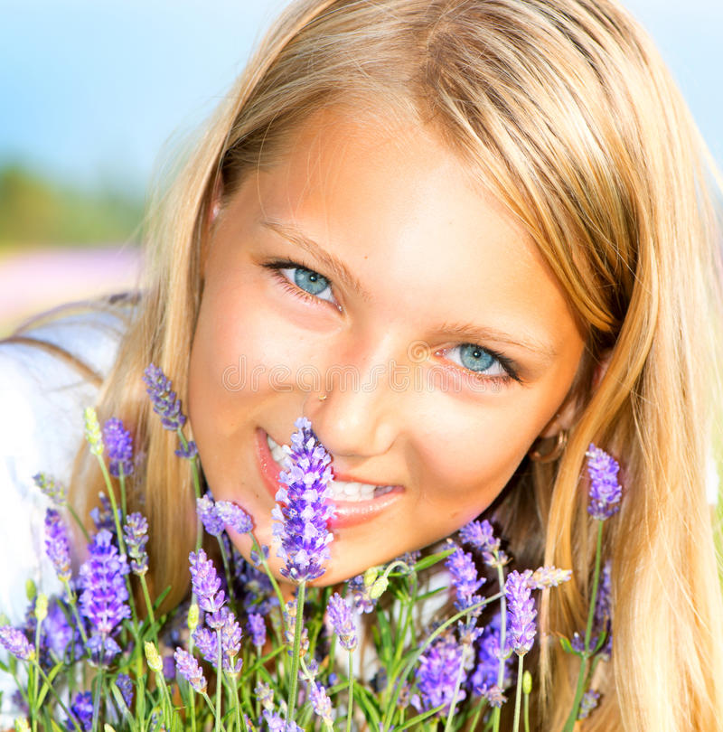 Girl With Lavender stock image
