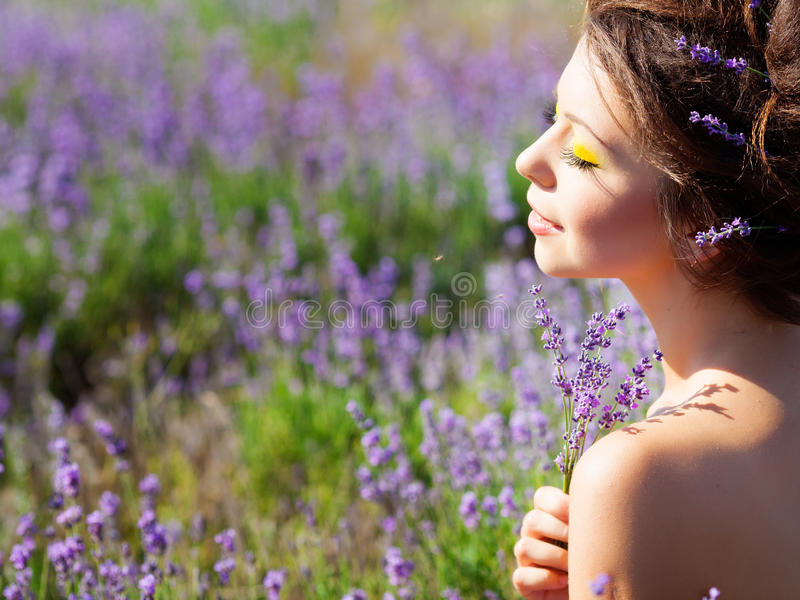 Download Girl on lavender field stock photo. Image of field, girl - 25307484