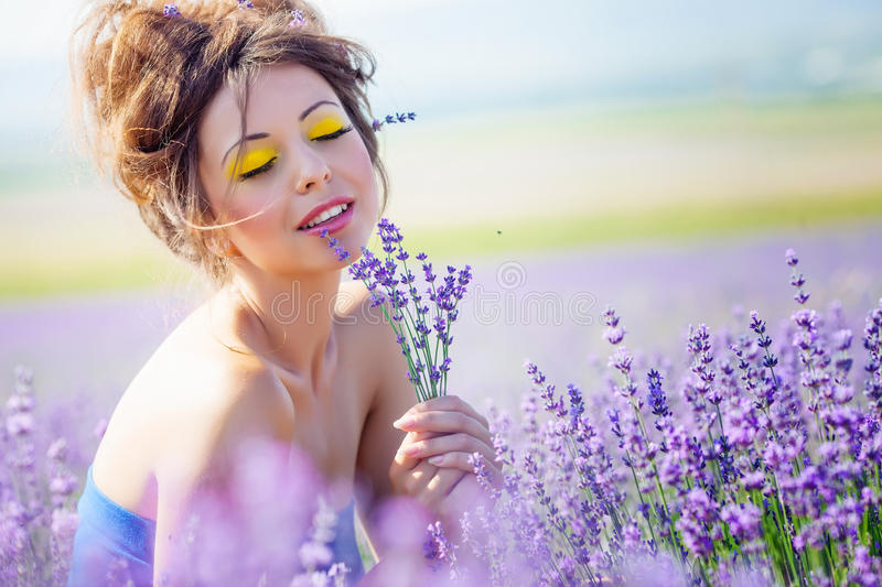 Download Girl on lavender field stock photo. Image of beauty, outdoors - 25307496