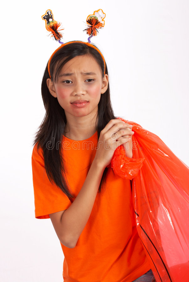 Download Girl with lawn bag stock photo. Image of treat, carrying - 3446560
