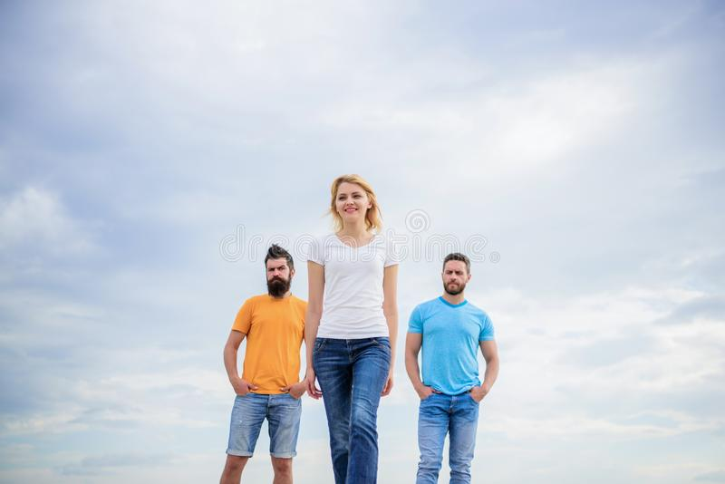 Girl leader qualities possess naturally. Influential women leader. Leadership concept. Woman in front of men feel. Confident. Moving forward support male team stock photography