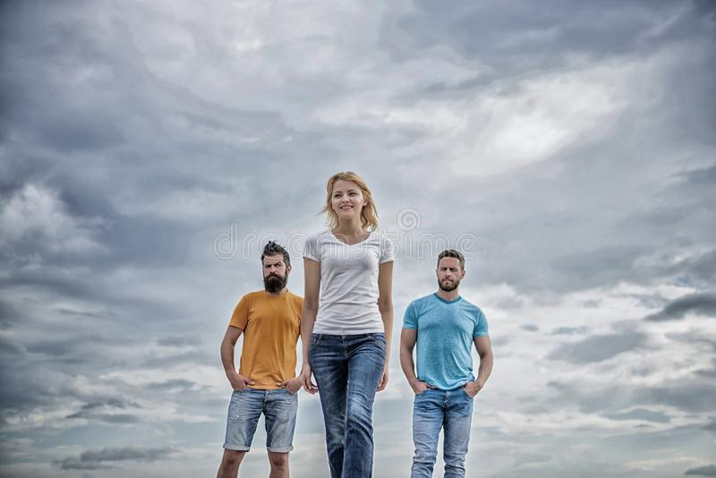 Girl leader qualities possess naturally. Influential women leader. Leadership concept. Woman in front of men feel. Confident. Moving forward support male team royalty free stock photography