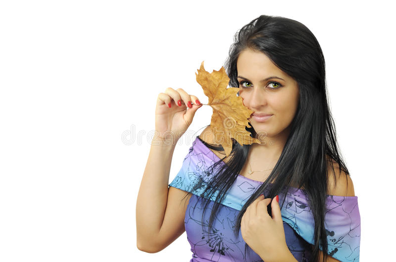 Download Girl with leaf stock photo. Image of girl, white, dress - 21510066