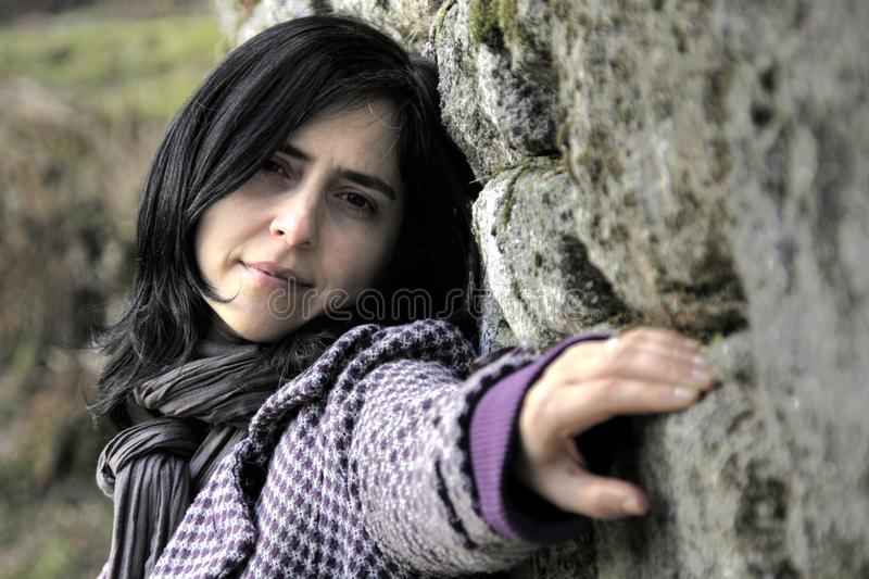 Download Girl Leaning Against The Wall Stock Image - Image: 13606299