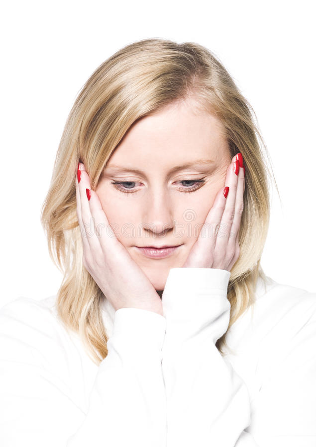 Girl Leaning Her Head In Her Hands Stock Photo
