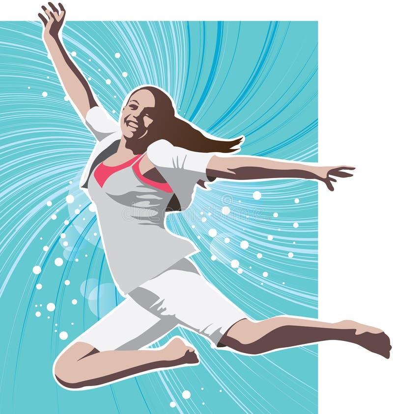 Girl leaping stock illustration