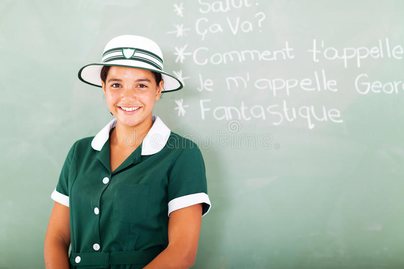 Girl learning French. Portrait of teen high school girl learning French royalty free stock images