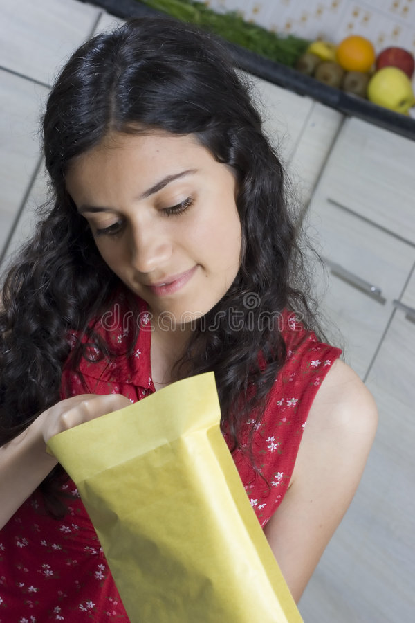 Girl with letter stock photo