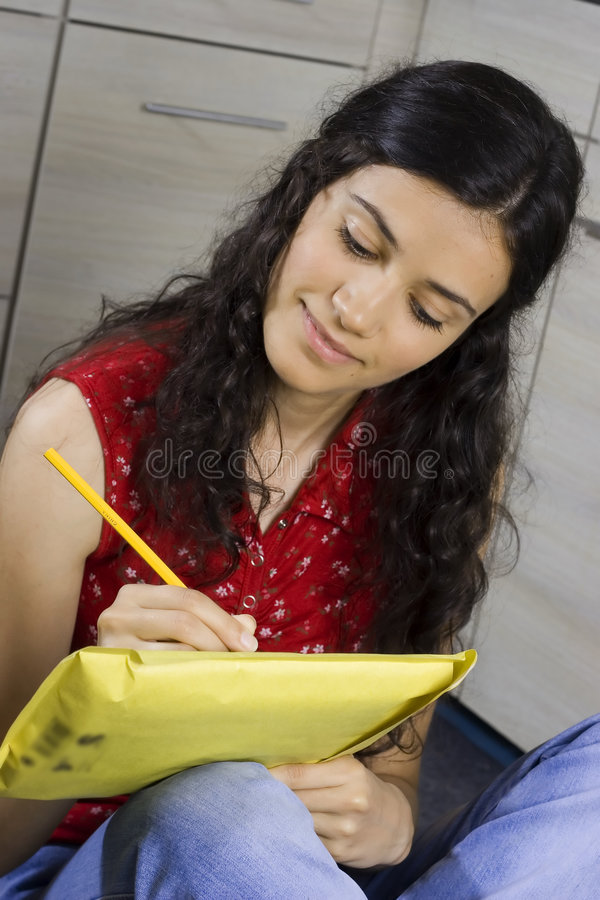Girl with letter royalty free stock photo