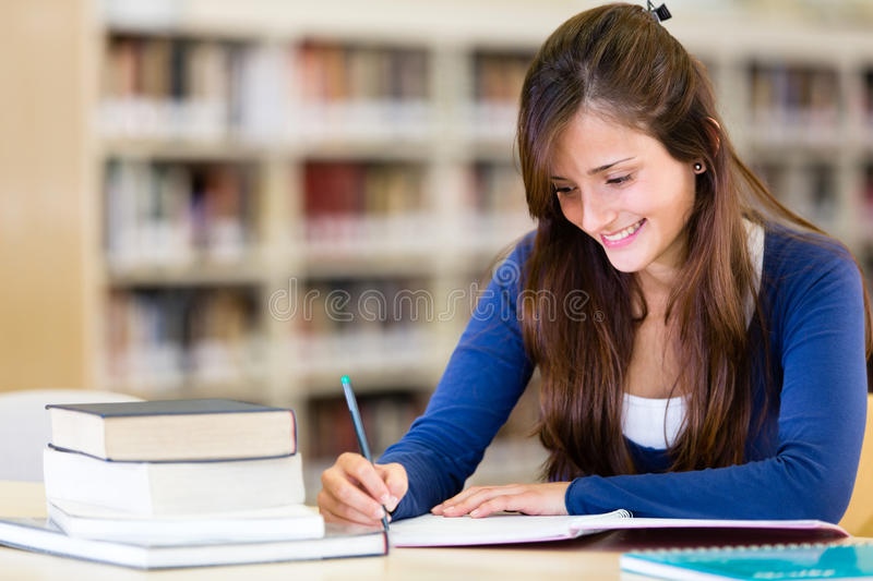 Download Girl at the library stock image. Image of education, person - 25382221