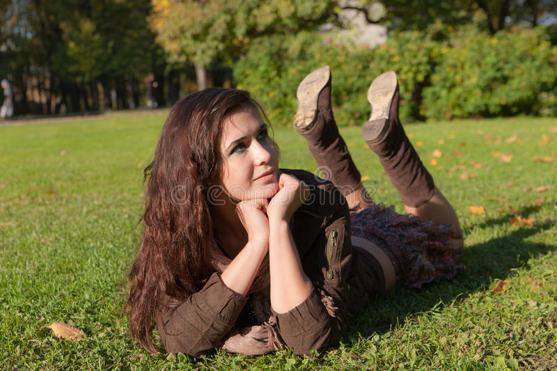 Download The girl lies on a grass stock image. Image of lawn, green - 16921485