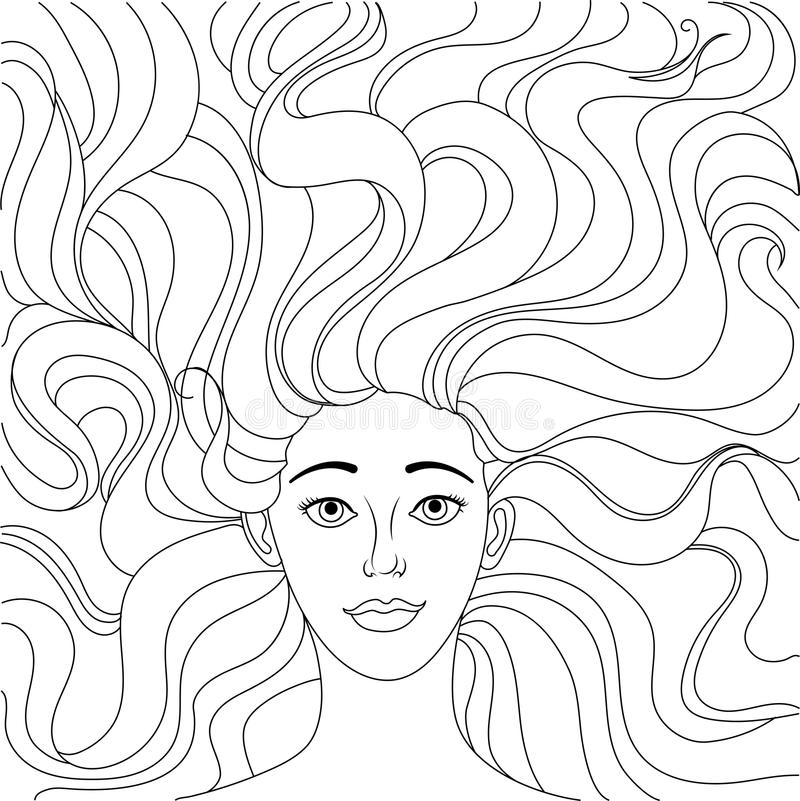 The girl lies on her back. A beautiful girl looks at you. Lush hair. Freehand sketch for adult anti stress coloring book page. vector illustration