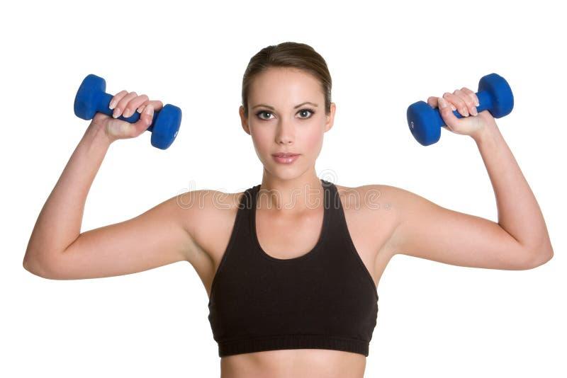 Girl Lifting Weights royalty free stock image