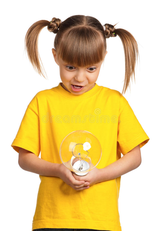 Girl with light bulb royalty free stock photo