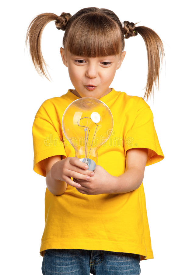 Girl with light bulb stock photos