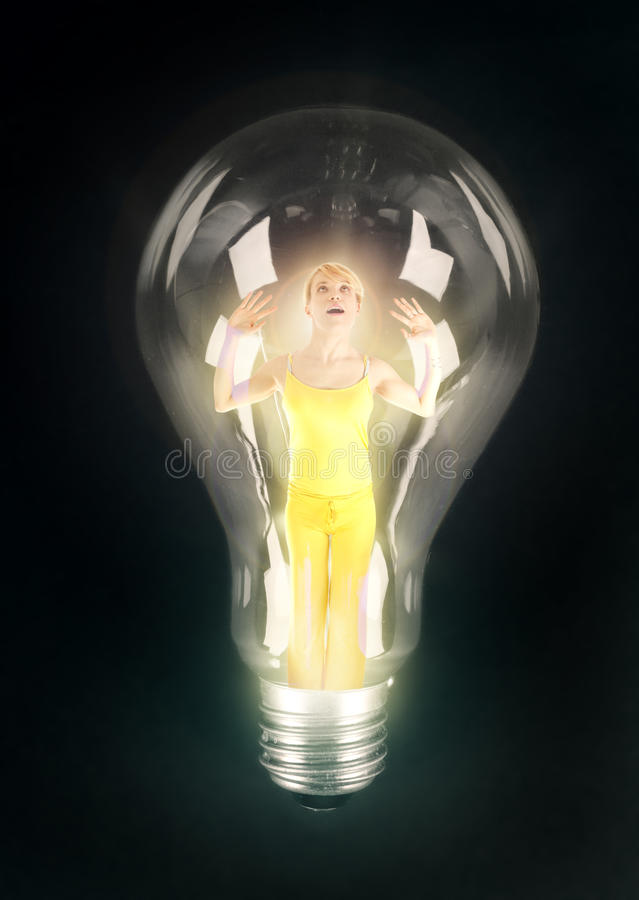 Download Girl lighting in bulb stock photo. Image of ideas, power - 17810214