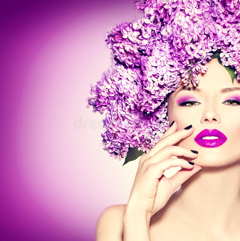Download Girl With Lilac Flowers Hairstyle Stock Image - Image of make, background: 53887457