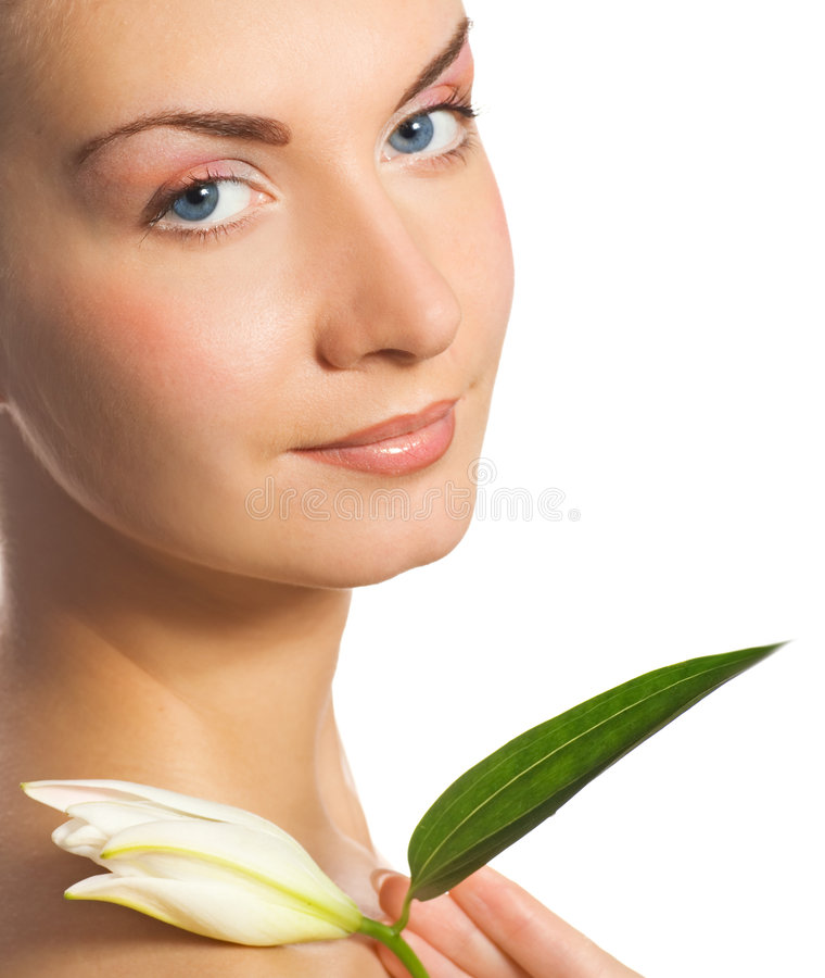 Girl with a lily royalty free stock photography