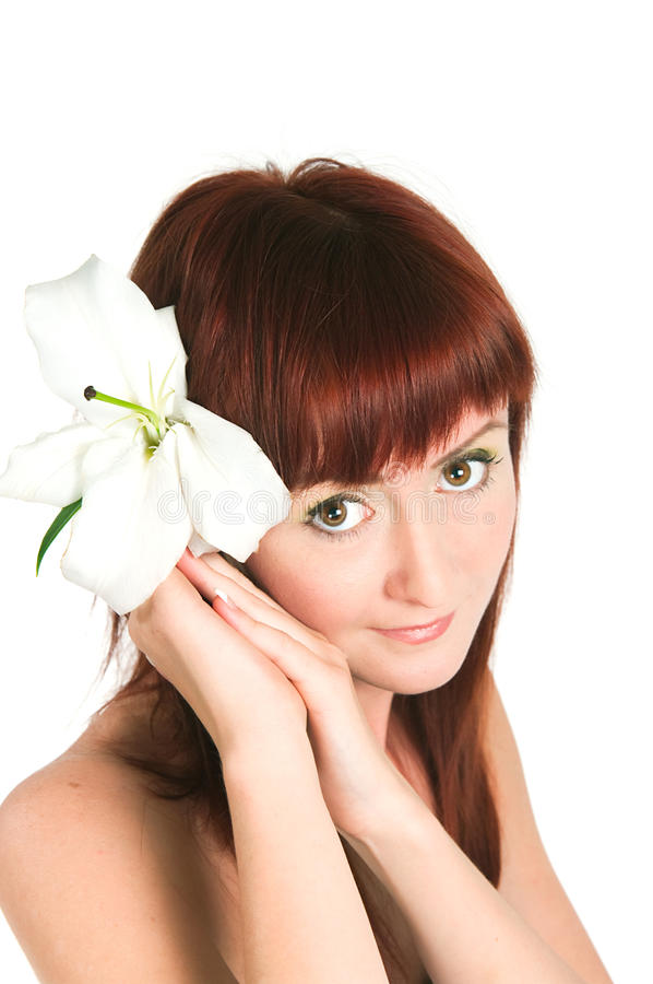 Download The Girl With A Lily Flower Stock Photo - Image: 31226474