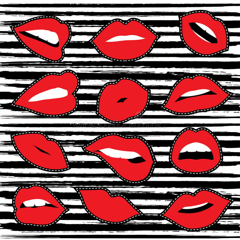 Girl lipstick mouth set for patch or sticker vector illustration