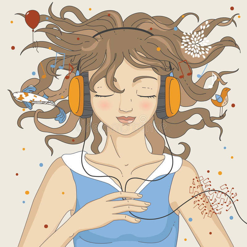Download Girl Listening Music stock vector. Image of adolescence - 13921868