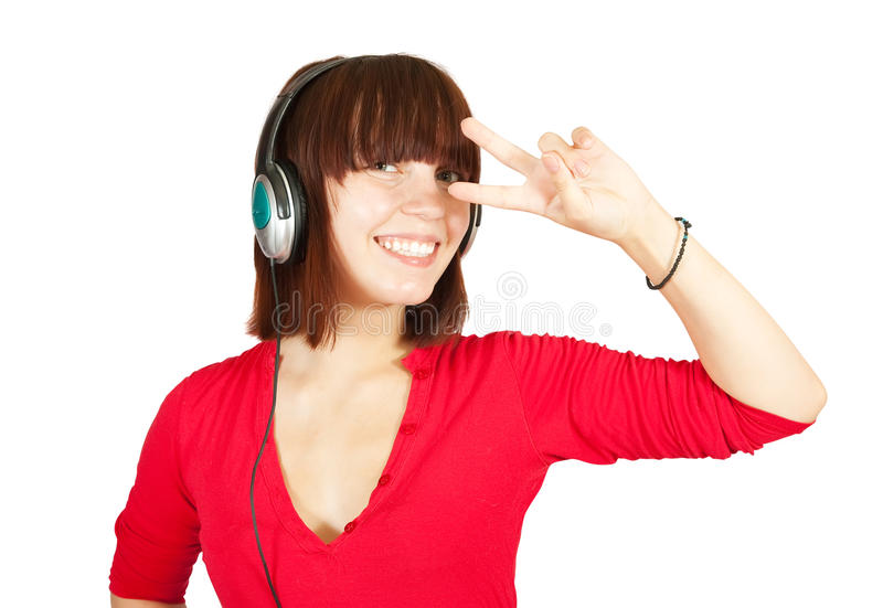 girl listening music and dancing royalty free stock photos