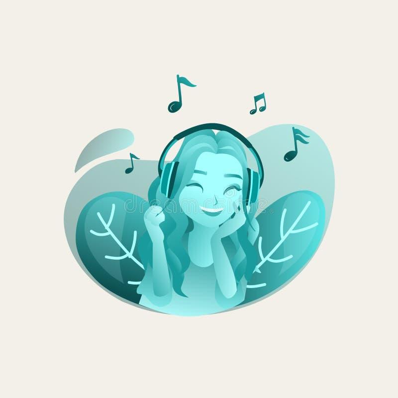 Girl listening music vector illustration