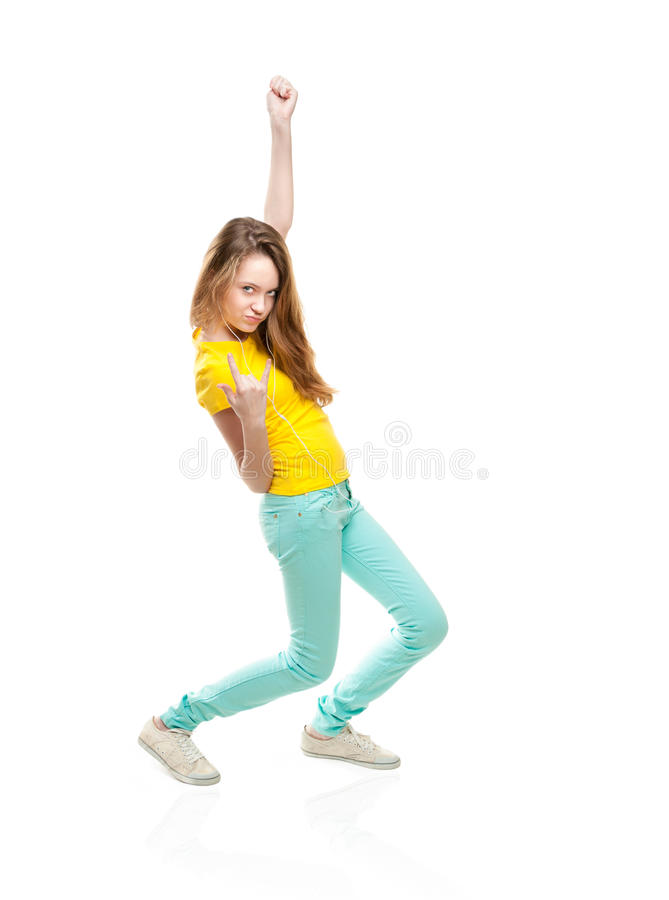 Download Girl Listening Music And Rocking. Stock Photo - Image: 24679640
