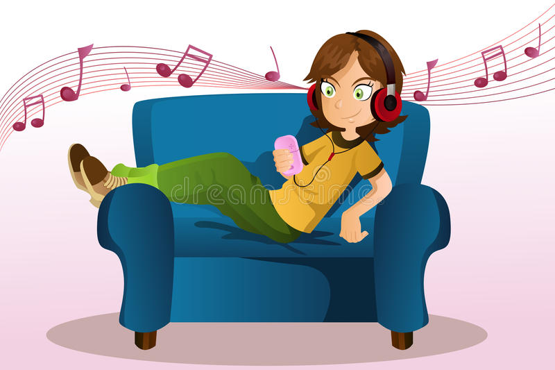 Download Girl listening to music stock vector. Image of woman - 18973175