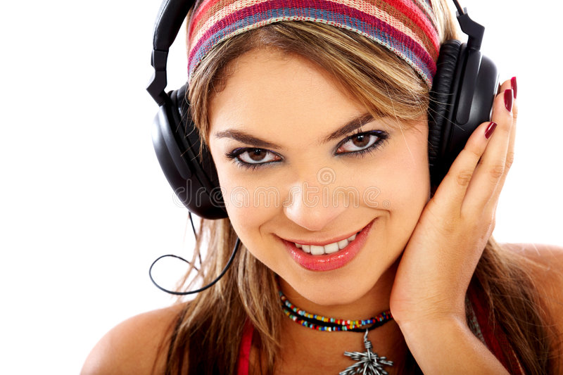 Download Girl listening to music stock photo. Image of player, beauty - 4696774
