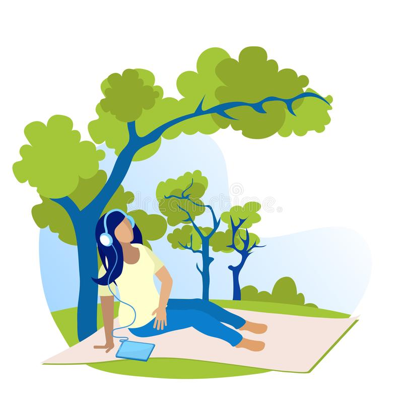 Girl Listening to Music Sitting in Tree Cartoon lizenzfreie abbildung