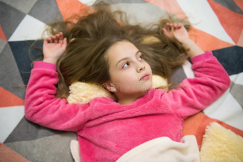 Girl little child relax at home. Evening relaxation before sleep. Child care concept. Pleasant time relaxation. Mental. Health and positivity. Free guided stock photos