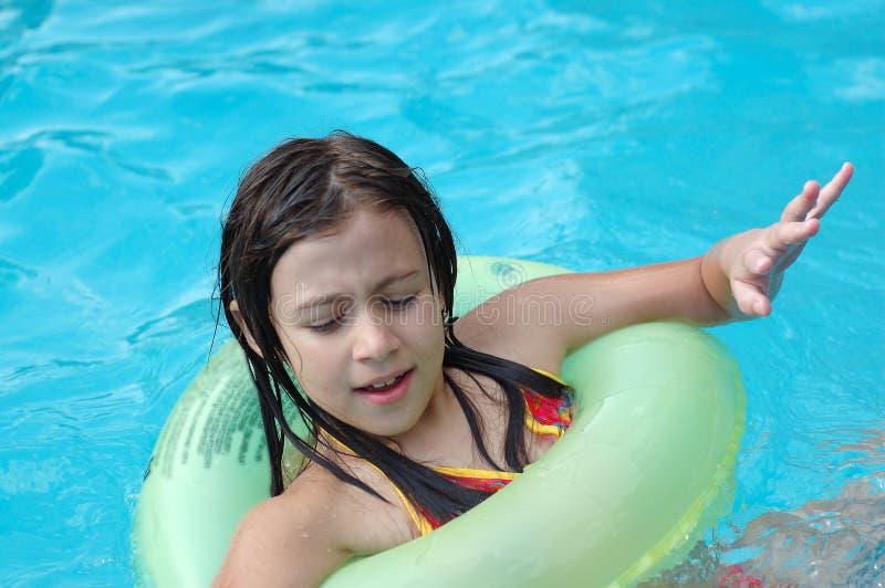 girl little pool royaltyfri foto