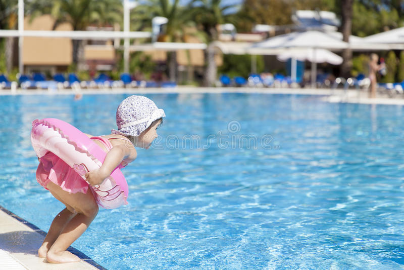 girl little pool swimming стоковое изображение
