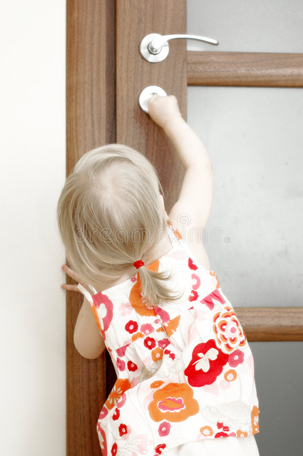 Download Girl locking door stock image. Image of female, rear, trying - 7108545