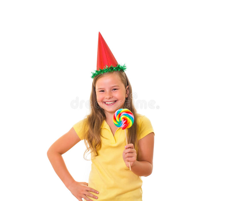 Download Girl with lollipop. stock image. Image of hand, background - 25974237
