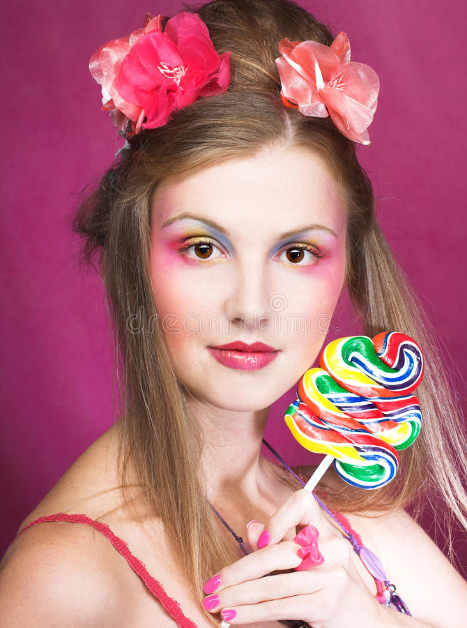 Download Girl with lollipop stock photo. Image of beauty, food - 32490086