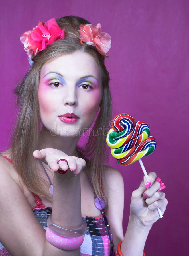 Download Girl with lollipop stock photo. Image of lollipop, pink - 32490114