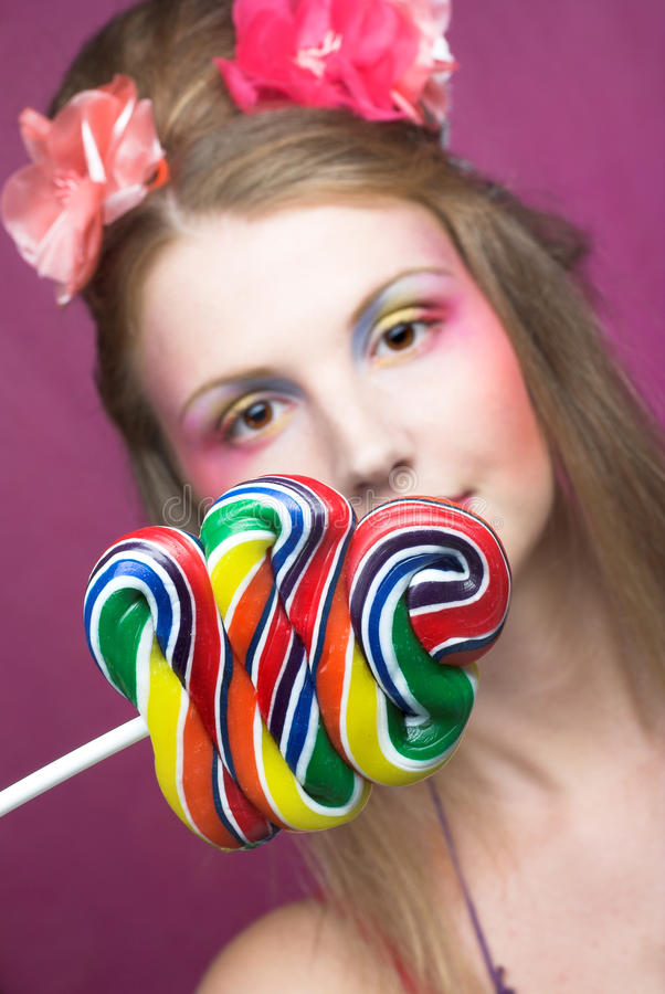 Download Girl with lollipop stock photo. Image of glamour, lollipop - 32490142